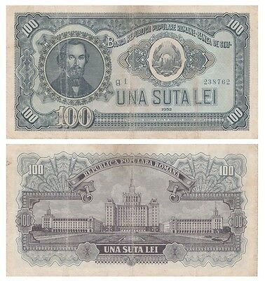 1oo - Una Suta - Lei  Romanian banknote issued in 1952 g1  vf