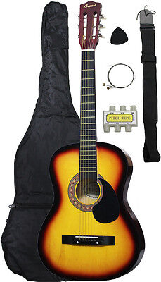 NEW Crescent beginner SUNBURST Acoustic Guitar+GIGBAG+STRAP+TUNER+LESSON