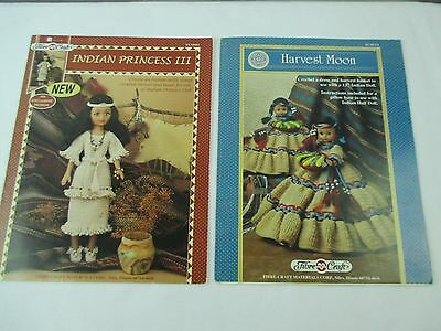 Indian Princess and Harvest Moon Doll Dress Crochet Pattern Booklet Lot of 2