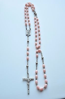 Vintage Rosary Beads Necklace Made In Italy INRI