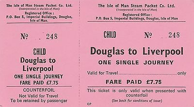 Card Ticket. The Isle of Man Steam Packet Co. Ltd. One Single. Fare £7.75. 1 tkt