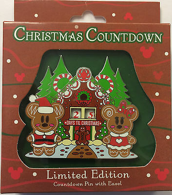 Disney Parks 2016 Gingerbread Mickey Minnie Days Till Christmas Countdown LE Pin