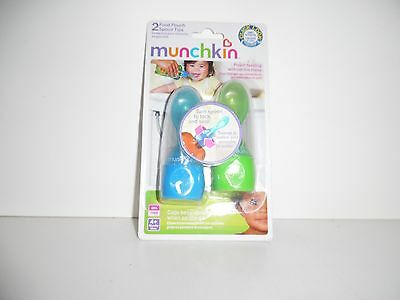 4 Brand NEW Munchkin Food Pouch Spoon Tips Blue Green AUTHENTIC BPA FREE