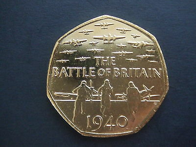 GOLD Plated Battle of Britain  50p coin from sealed bag ..