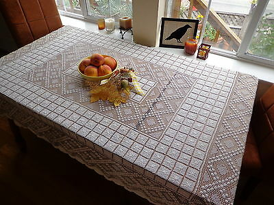 """Heirloom Italian Handmade Lace Tablecloth 72"""" X 60"""" Hand-knotted Filet Exquisite"""