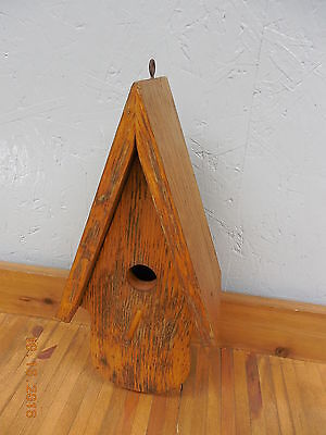 Beautiful Old Handcrafted Oak A-Frame Bird House  #