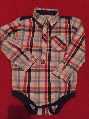 Baby Boys Long Sleeved Checked Shirt Body Suite 12-18 Months Excellent Condition