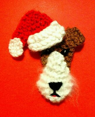 knitted Christmas wire fox terrier brooch NEW !