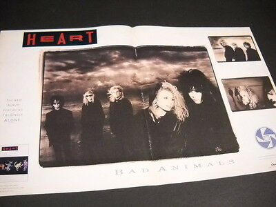 HEART Rare 1987 SUPERSIZED Promo Display Ad from BAD ANIMALS