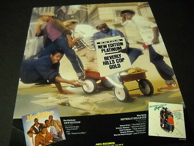 NEW EDITION is Platinum BEVERLY HILLS COP is Gold 1985 PROMO POSTER AD