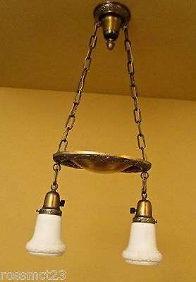 Vintage Lighting 1920 pan fixture with original shades. New cloth wiring