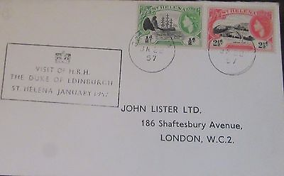 1957 St Helena Qe2 Cover Royal Visit To England .used.