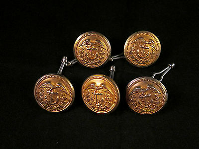 Set 5  NAVY/MARINE UNIFORM BUTTONS Tucked Eagle Facing Right Anchor