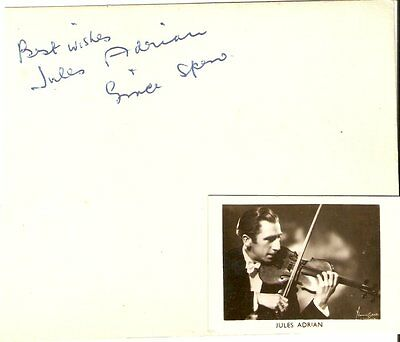 JULES ADRIAN - Vintage  Solo Violinist  autographed page + Pic