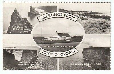 Greetings From John O' Groats 1950's Real Photograph Valentines Multi View A4889