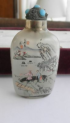 Antique Asian SNUFF Bottle w/ Travelers on Horseback & Water~~Turquoise Lid