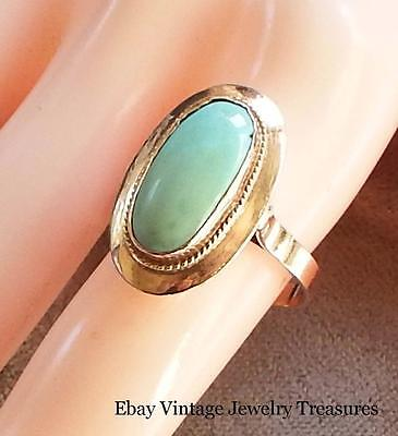 Antique Victorian Turquoise 14K Rose Gold Ring Size 9 Estate