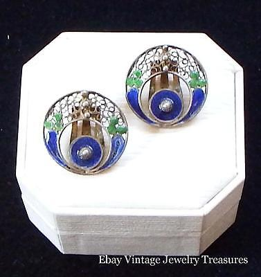 Vintage Antique Chinese Export Enamel Sterling Silver Filigree Clip Earrings