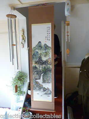 Signed  Vintage Chinese Ink Painting Mountain Scene With Artist Seals