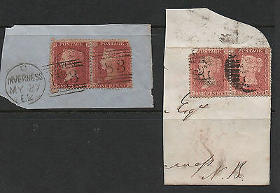 Penny red stars on Piece - 1862