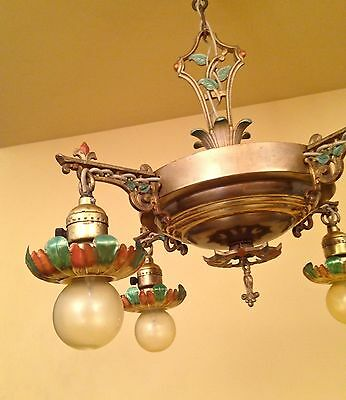 Vintage Lighting 1930 brass pan chandelier with lovely details