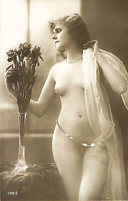 FRENCH REAL PHOTO NUDE, RPPC, FRANCE, VINTAGE POSTCARD, Series #1005-2