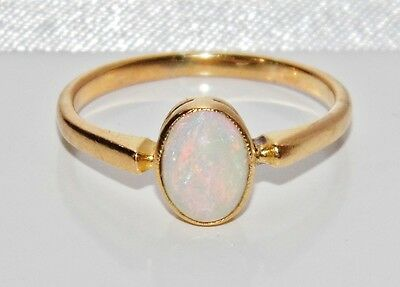 Antique 18ct Yellow Gold Natural Opal Single Stone Ring - size N
