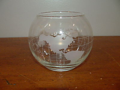 Vintage Nescafe Promotional World Globe Etched Glass Centerpiece Floating Candle