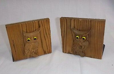 Vtg Mid Century Otagiri OMC Cryptomeria Wood Owl Book Ends Bookends