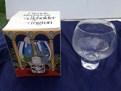 NEW BOXED VINTAGE DARTINGTON CRYSTAL GLASS CANDLE HOLDER by FRANK THROWER