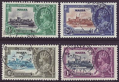 Malta, Set Of 4, Silver Jubilee, Sg210 - 213, Used, 1935