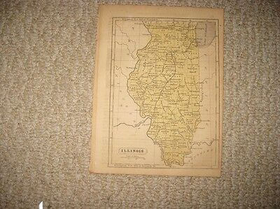 Antique 1857 Illinois Chicago Handcolored Map Railroad Detailed Superb Rare Nr