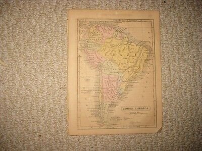 Fine Antique 1857 South America Handcolored Map Patagonia Brazil Argentina Rare