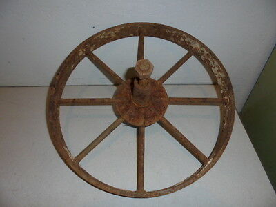 "Antique Cast Iron Wheel Barrow Wheel 16"" 8 Spoke"