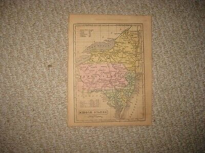 Antique 1857 New York Jersey Pennsylvania Delaware Maryland Handcolored Map Nr