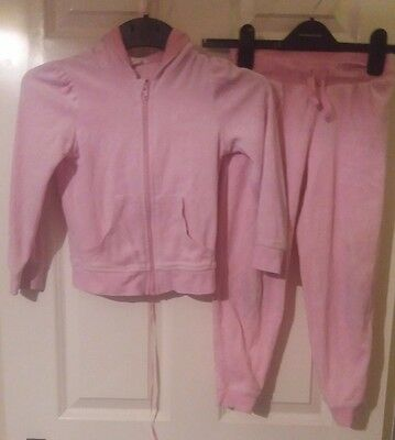 girls pink velour h&m hooded top and free jogging bottoms
