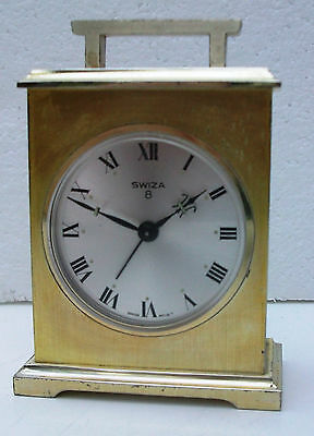 Vintage Swiza 8 Carriage Clock with Alarm
