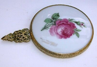 Limoges hand compacr mirror with filigree handle and a red rose