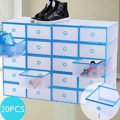 20x Drawer Shoe Storage Box Plastic Stackable Clear Organizer Home Foldable Case