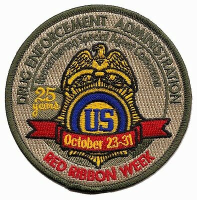 Y18 * 1985 Red Ribbon 25 Years Dea Drug Enforcement Agency Police Patch Federal