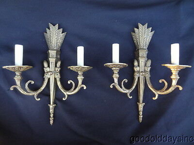 Ornate 1930's Pair of Solid Brass Wall Sconces - Antique 2 Light Sconce Quiver
