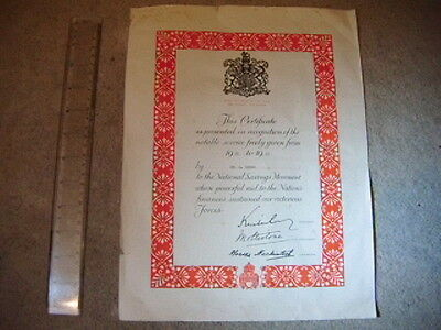 WW2 Home Front - National Savings 1939-1945 service certificate