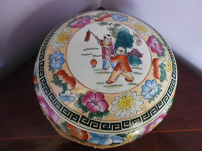 Fab Large Old Chinese Pottery Oriental Scene & Flowers Des Lidded Pot 26 Cms Dia