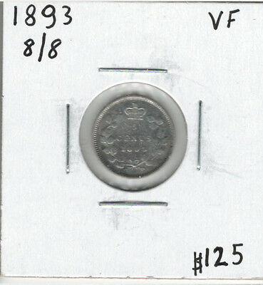 Canada 1893 Silver 5 Cents 8/8 VF