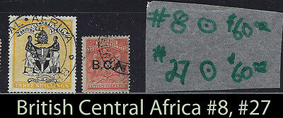 British Central Africa #27 SON Cancel used Three Shillings SCV $60 very fine+