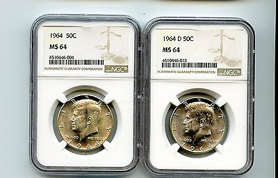1964/1964-D Kennedy Half Dollars (MS 64) NGC 2 Coins