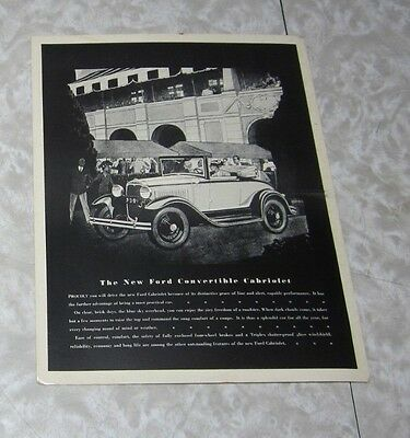 1930 Ford Convertible Cabriolet RARE Dealer Sales Picture ?