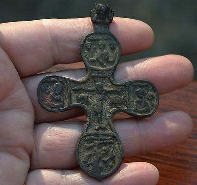 BIG Ancient Medieval Bronze Cross Figural Artifact Found In Excavation In Europe