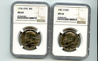1976/1981-D Kennedy Half Dollars (MS 64) NGC 2 Coins