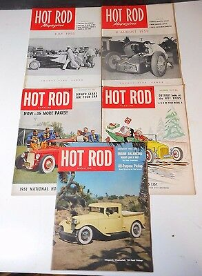 Lot Of 5 Issues - 1950 To 1952 Hot Rod Magazine - 34' Ford Pickup  - Champions +